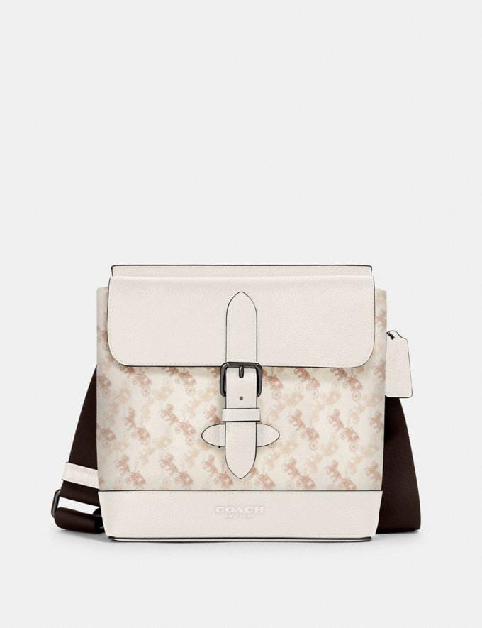 Coach Hudson Crossbody With Horse and Carriage Print Qb/Beige Taupe Men