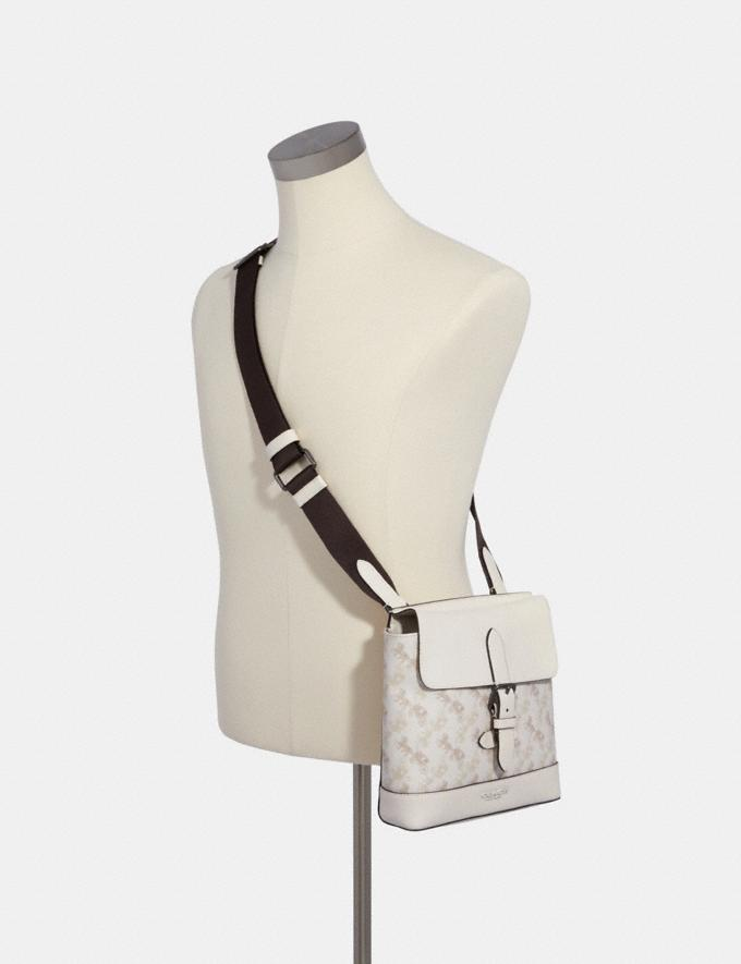 Coach Hudson Crossbody With Horse and Carriage Print Qb/Beige Taupe Men Alternate View 2