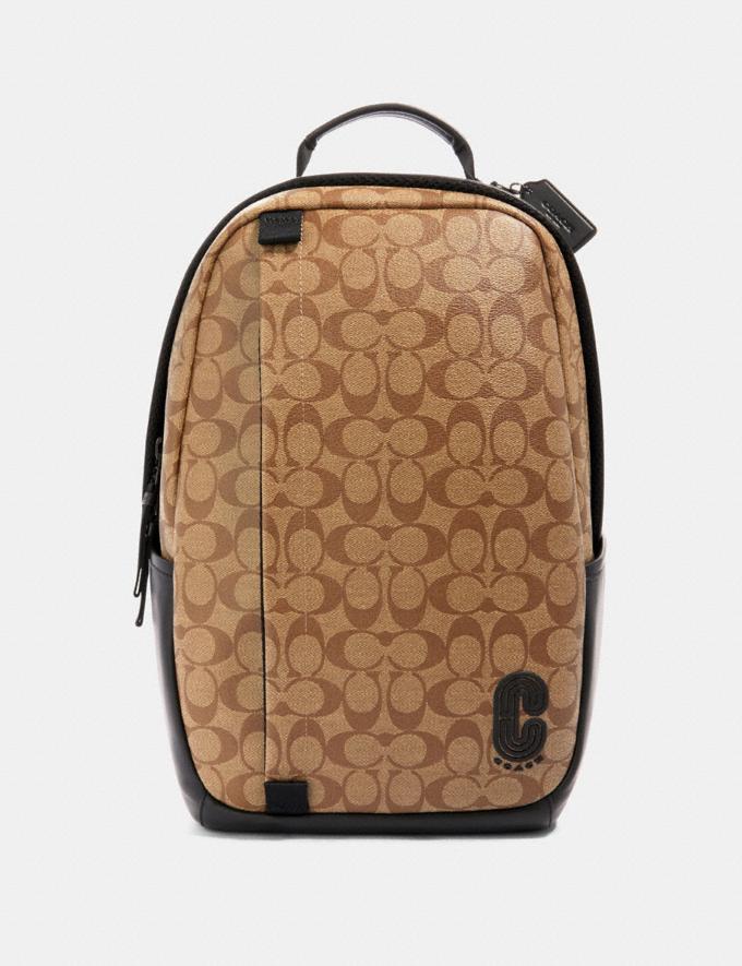 Coach Edge Backpack in Signature Canvas Qb/Tan Explore Men Explore Men Bags