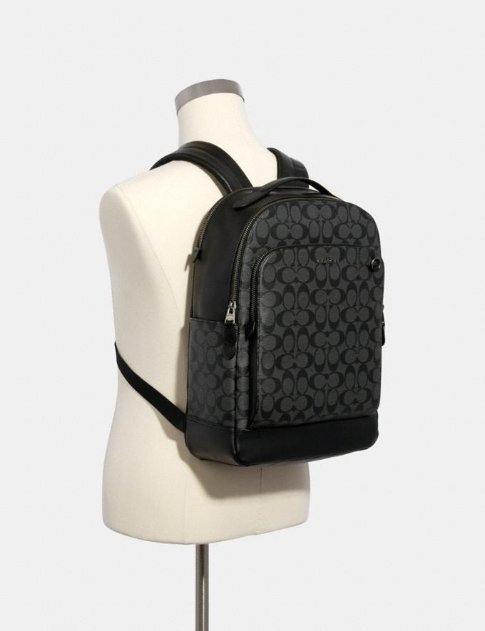 Coach Graham Backpack in Signature Canvas Qb/Charcoal/Black DEFAULT_CATEGORY Alternate View 2