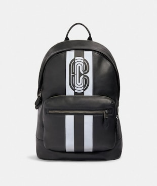 WEST BACKPACK WITH REFLECTIVE VARSITY STRIPE AND COACH PATCH