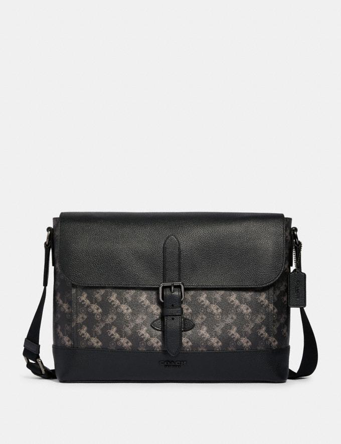 Coach Hudson Messenger With Horse and Carriage Print Qb/Black Multi