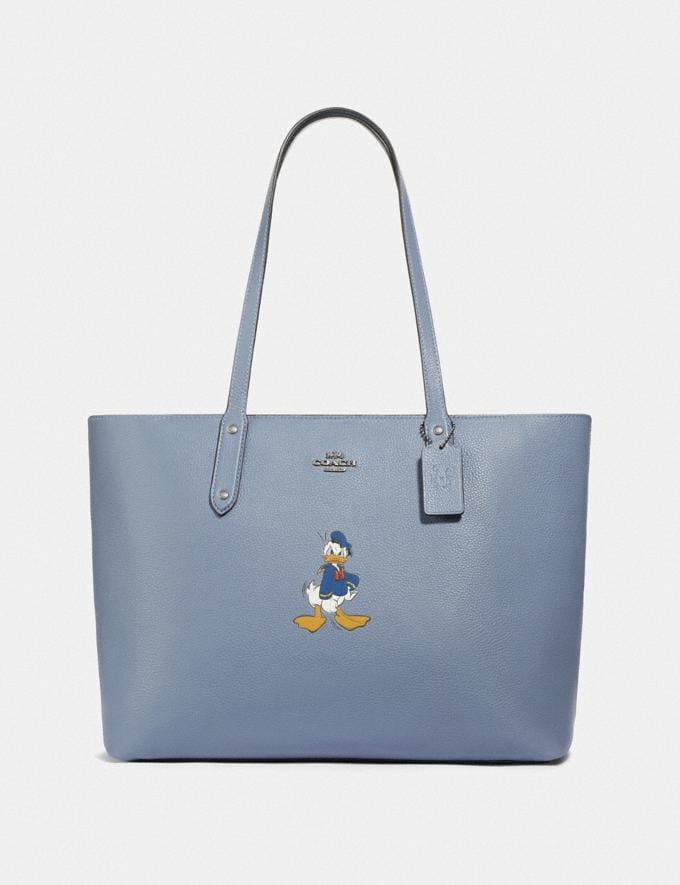 Coach Disney X Coach Central Tote With Zip With Donald Duck Motif Light Nickel/Bluebell New Featured Disney X Coach