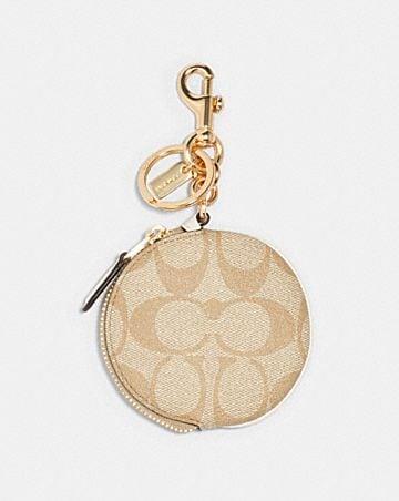 circular coin pouch bag charm in signature canvas