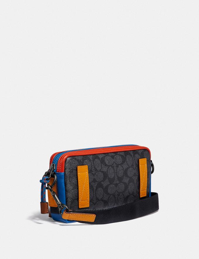 Coach Pacer Slim Pouch in Signature Canvas Charcoal Signature Multi SALE Private Event Men's Alternate View 1