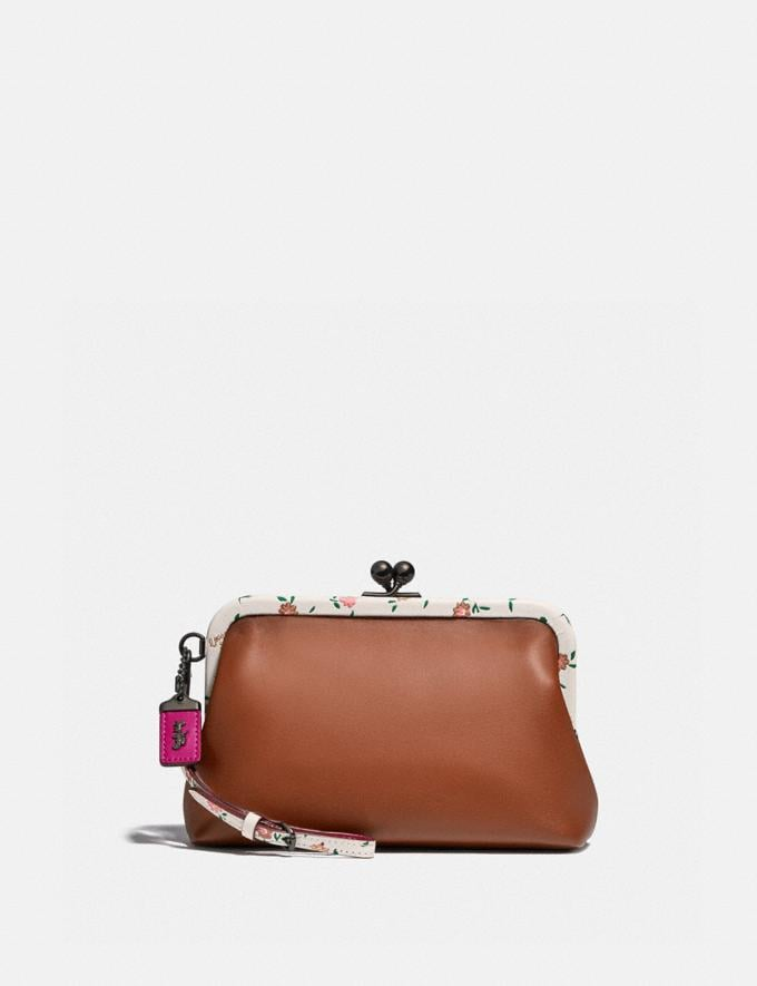 Coach Kisslock Clutch With Blocked Floral Print V5/Saddle Multi Women Small Leather Goods Wristlets