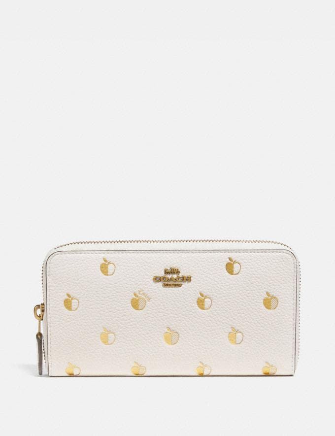 Coach Accordion Zip Wallet With Apple Print Brass/Chalk Multi New Women's New Arrivals Wallets & Wristlets