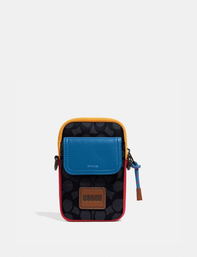 Coach Pacer Convertible Pouch in Colorblock Signature Canvas With Coach Patch Charcoal Signature Multi SALE Private Event Men's