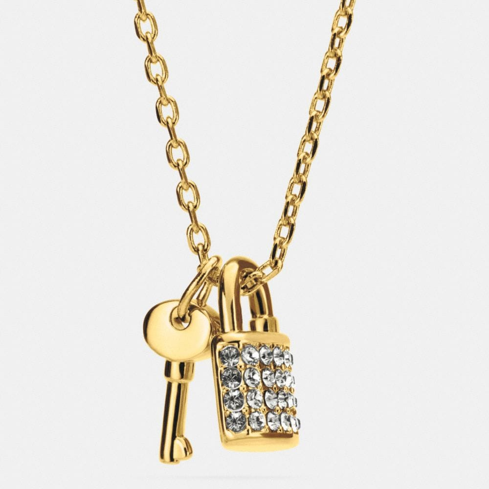 Lock and Key Pave Padlock Necklace