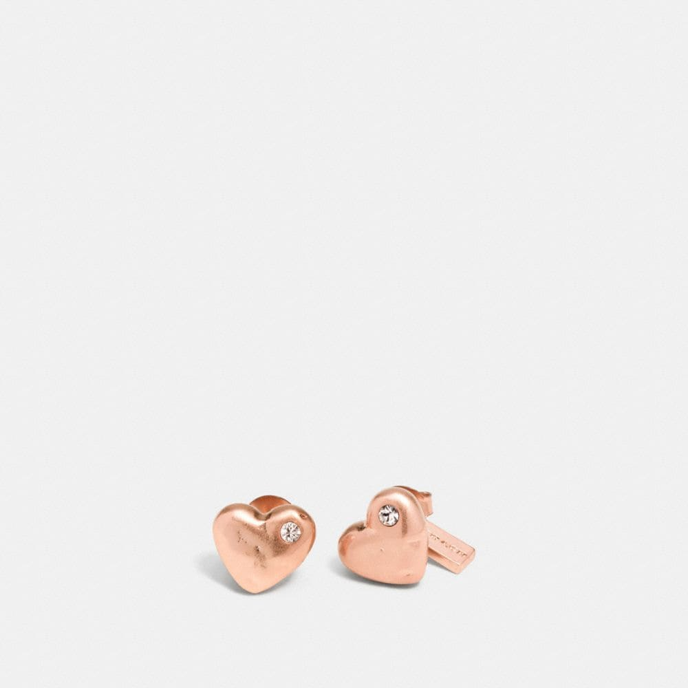 PAVE SCULPTED HEARTS STUD EARRINGS