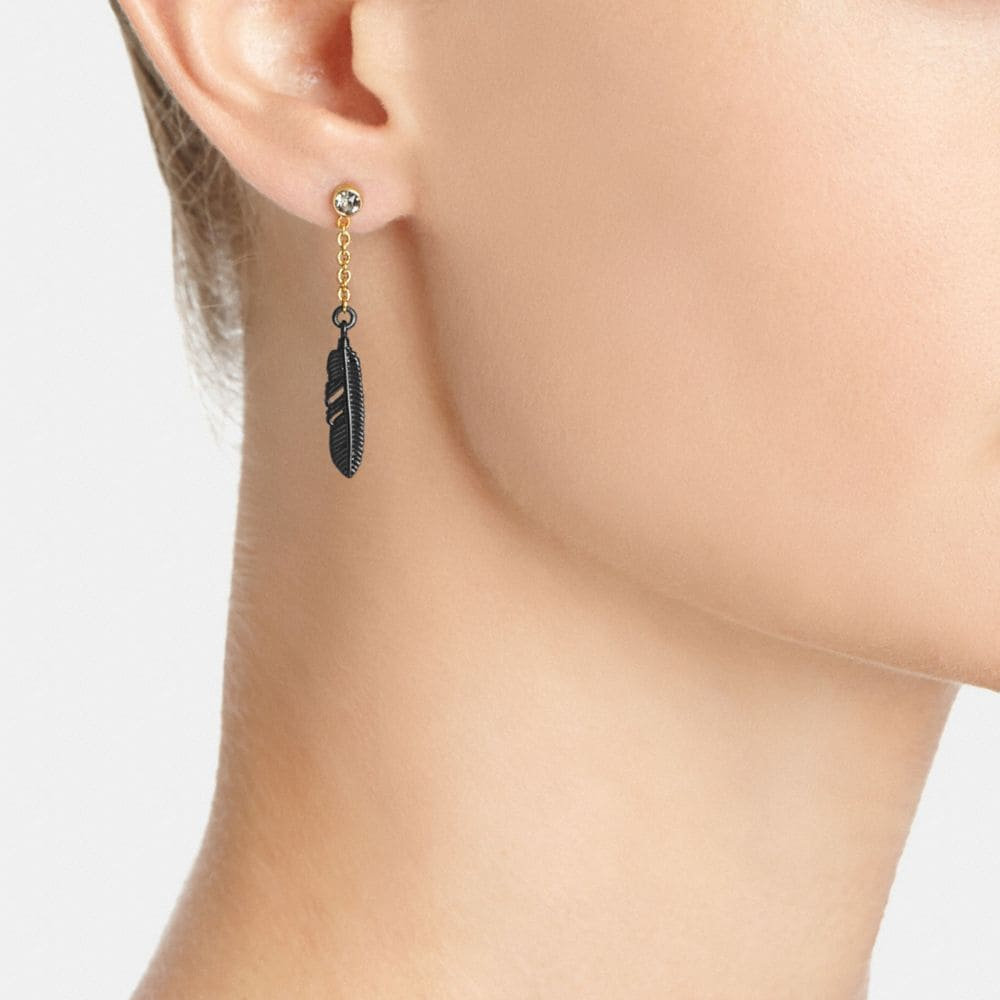Coach Pave Feather Drop Earrings Alternate View 1