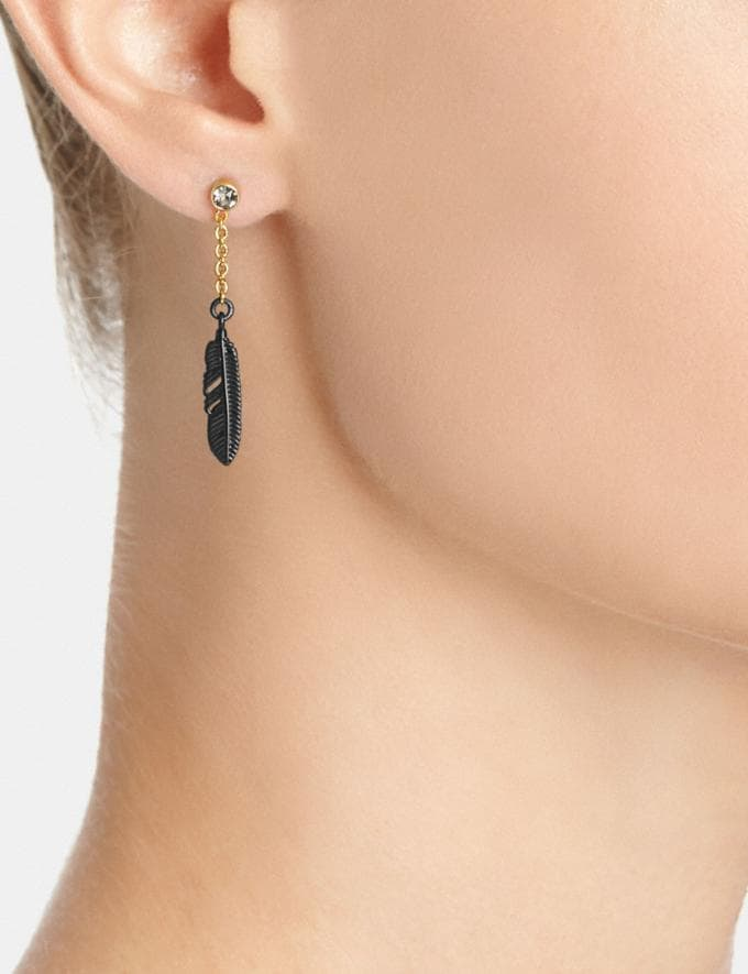 Coach Pave Feather Drop Earrings Clear/Gold Women Accessories Jewelry Earrings Alternate View 1