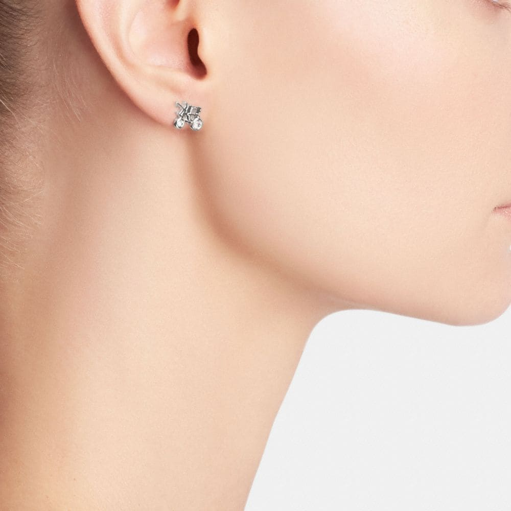 Sterling Pave Horse and Carriage Stud Earrings - Alternate View A1