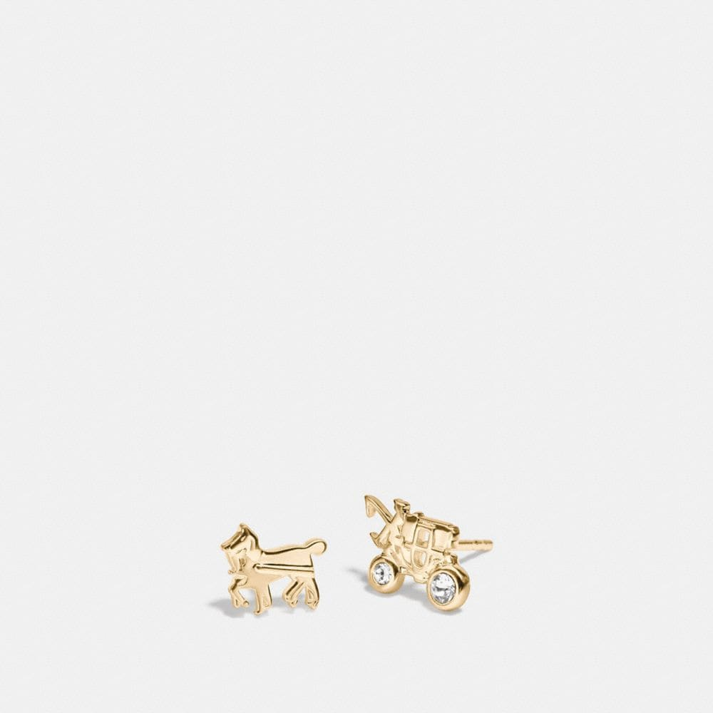 DEMI-FINE HORSE AND CARRIAGE STUD EARRINGS