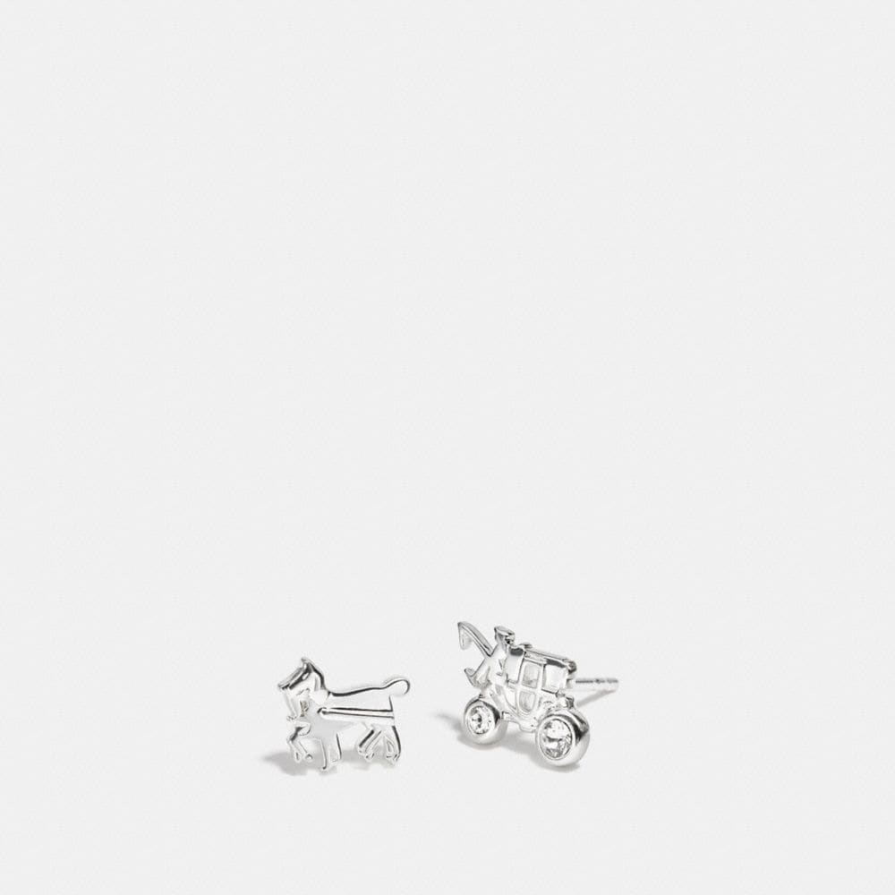 STERLING PAVE HORSE AND CARRIAGE STUD EARRINGS
