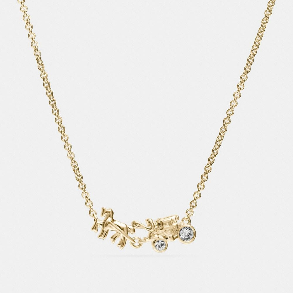 demi-fine horse and carriage necklace