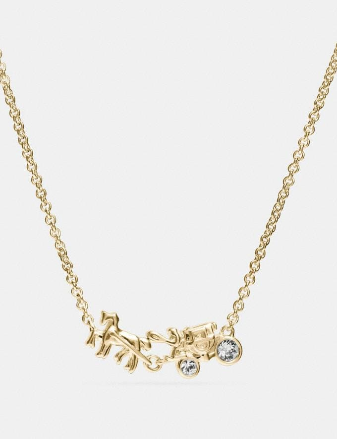Coach Demi-Fine Horse and Carriage Necklace Gold