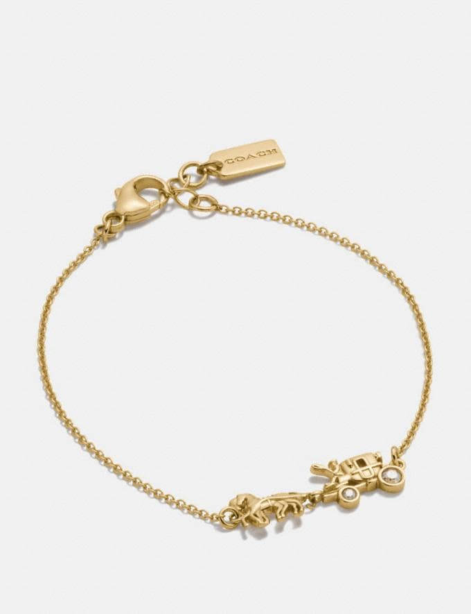Coach Demi-Fine Horse and Carriage Chain Bracelet Gold