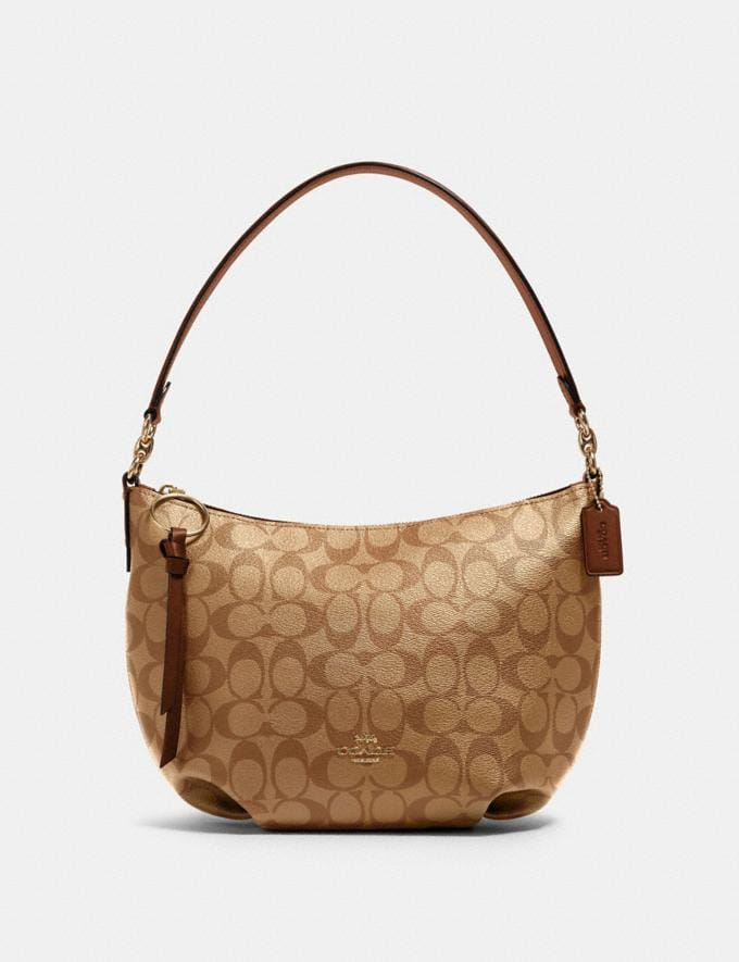Coach Small Skylar Hobo in Signature Canvas Im/Khaki Saddle 2 Clearance