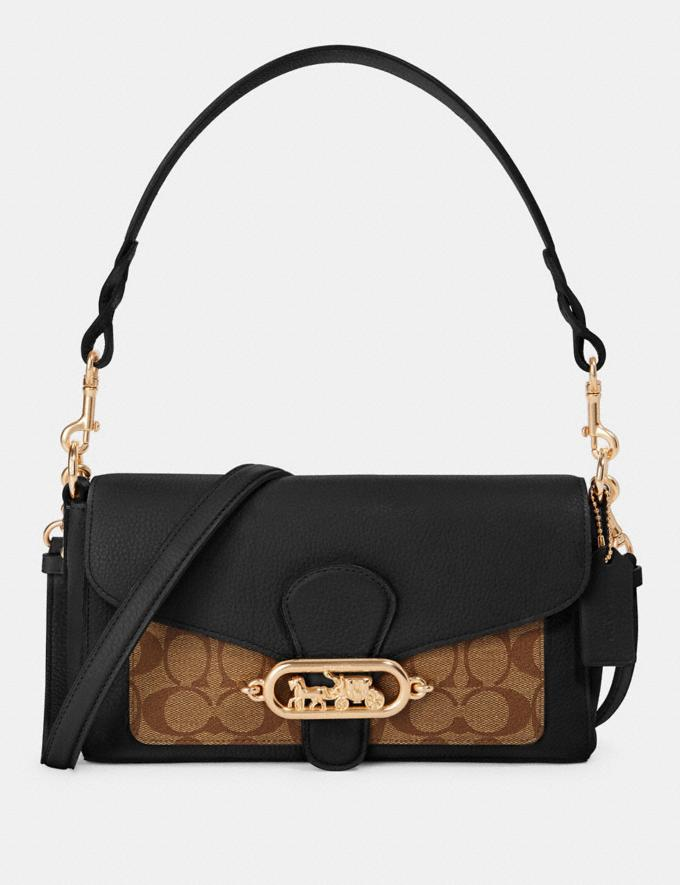 Coach Small Jade Shoulder Bag With Signature Canvas Detail Im/Khaki/Black