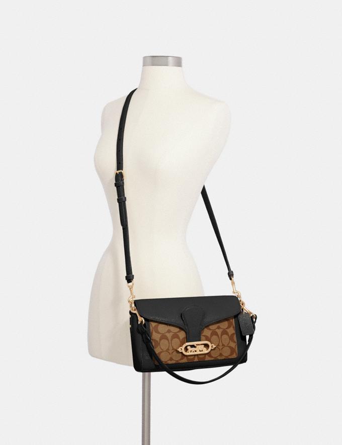 Coach Small Jade Shoulder Bag With Signature Canvas Detail Im/Khaki/Black  Alternate View 2