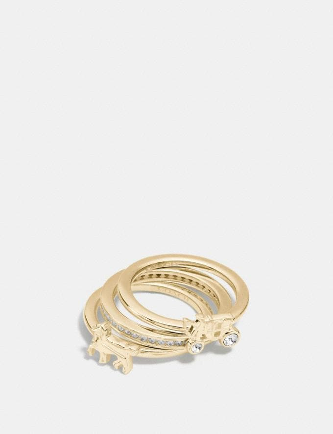 Coach Demi-Fine Horse and Carriage Ring Set Gold