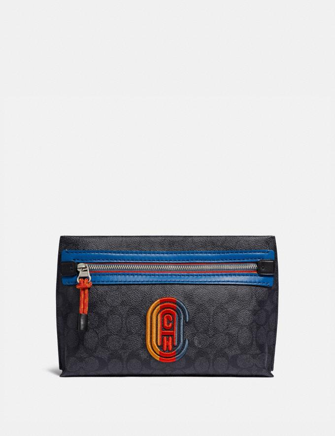 Coach Convertible Academy Pouch in Signature Canvas With Coach Patch Charcoal Signature Multi Men Bags Pouches