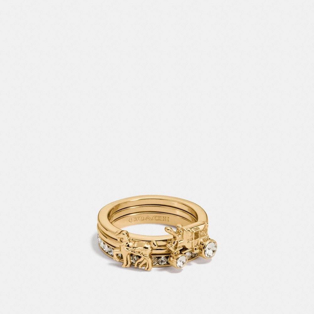 Coach Pave Horse and Carriage Ring Set