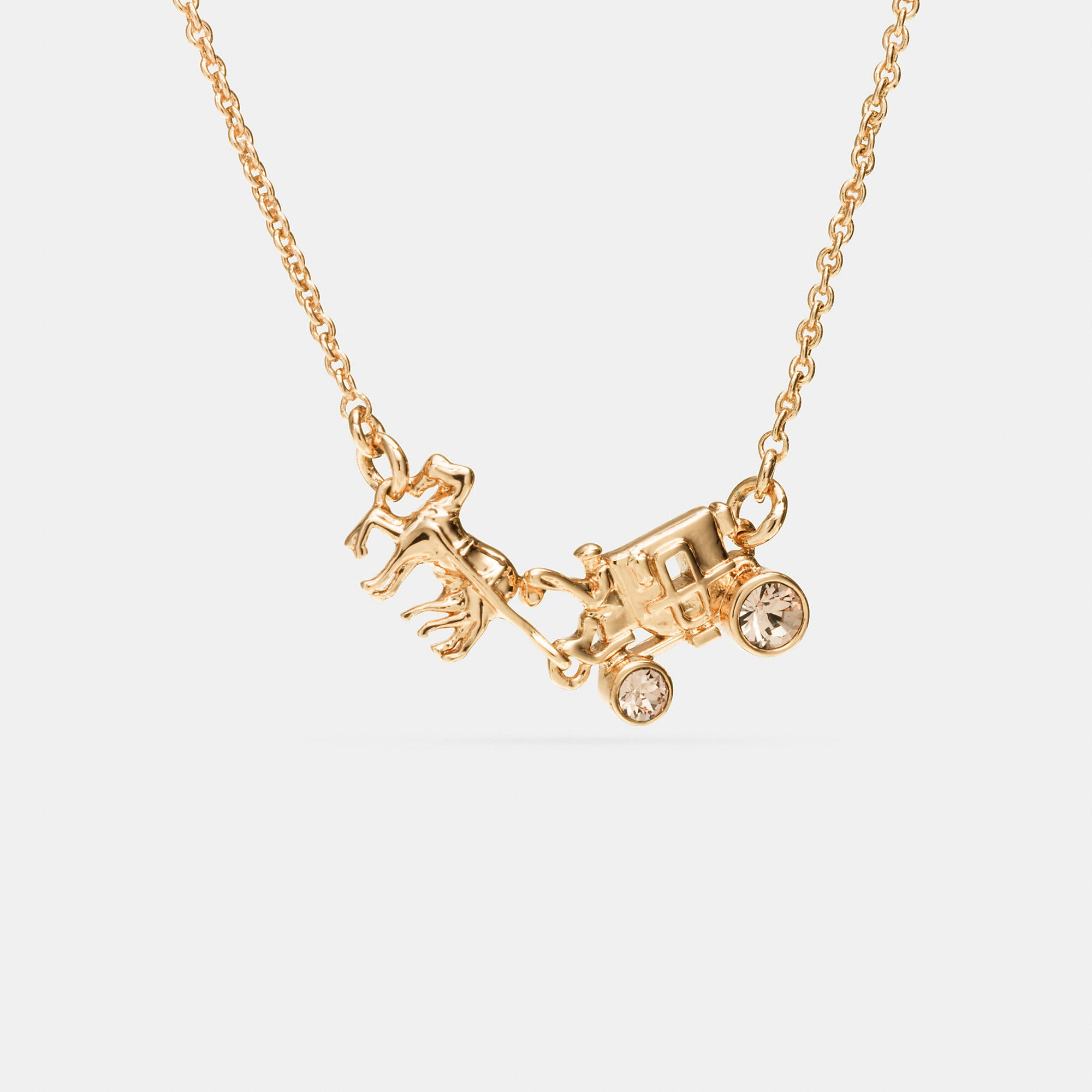 Coach Pave Horse And Carriage Necklace