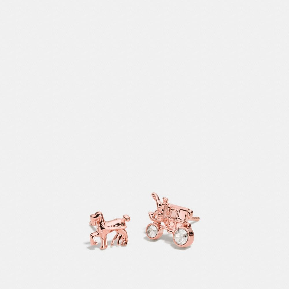 Pave Horse and Carriage Stud Earrings