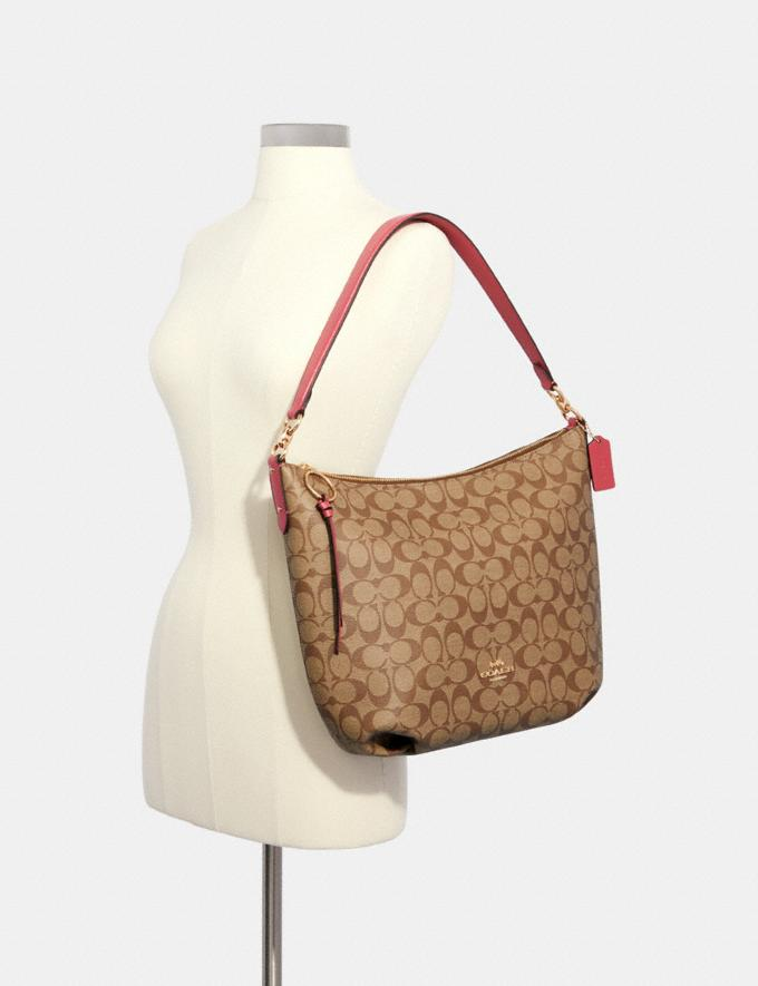 Coach Skylar Hobo in Signature Canvas Im/Brown Black Clearance Bags Alternate View 2