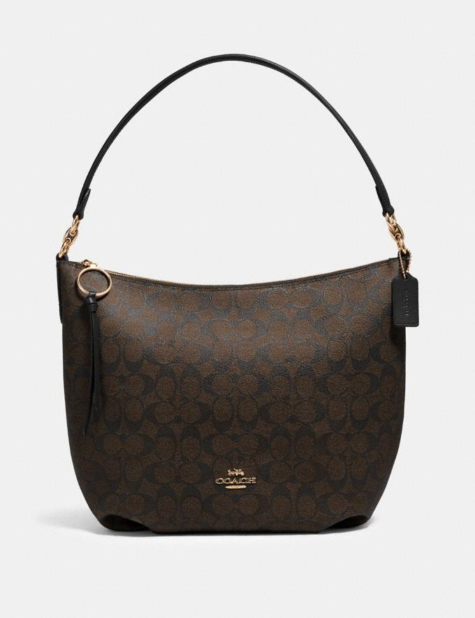 Coach Skylar Hobo in Signature Canvas Im/Brown Black Clearance Bags