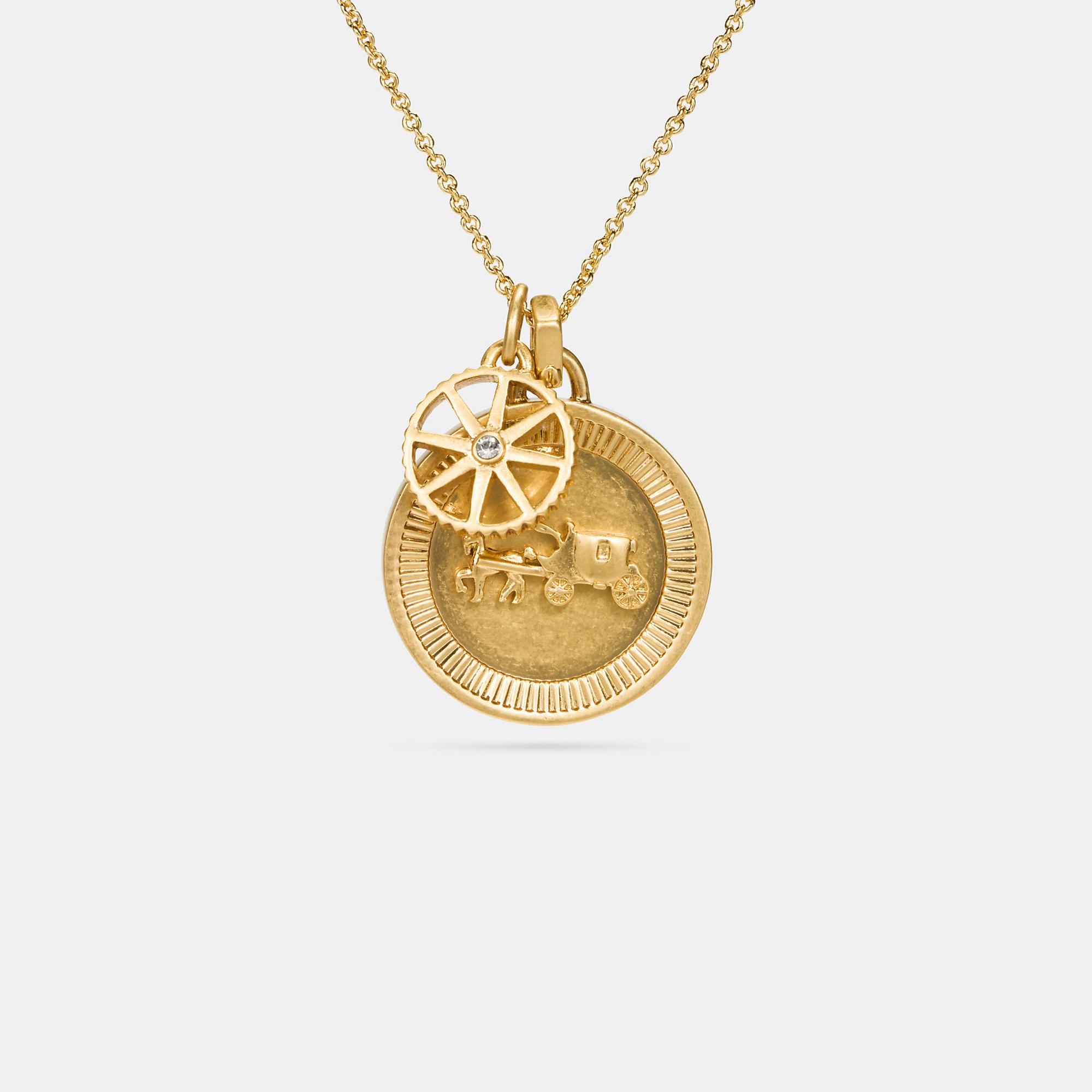 Coach Horse And Carriage Coin Necklace