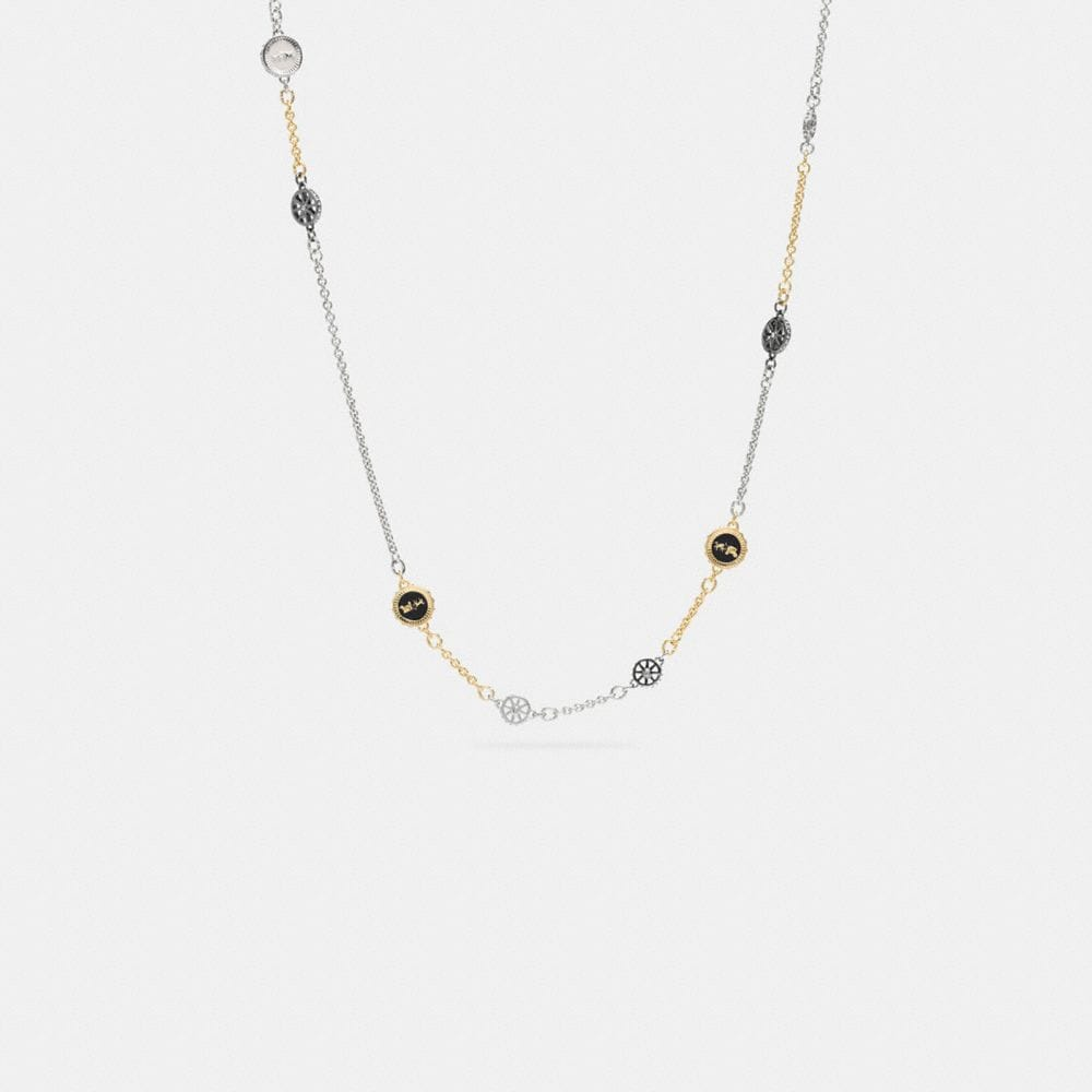 PAVE LONG HORSE AND CARRIAGE COIN NECKLACE