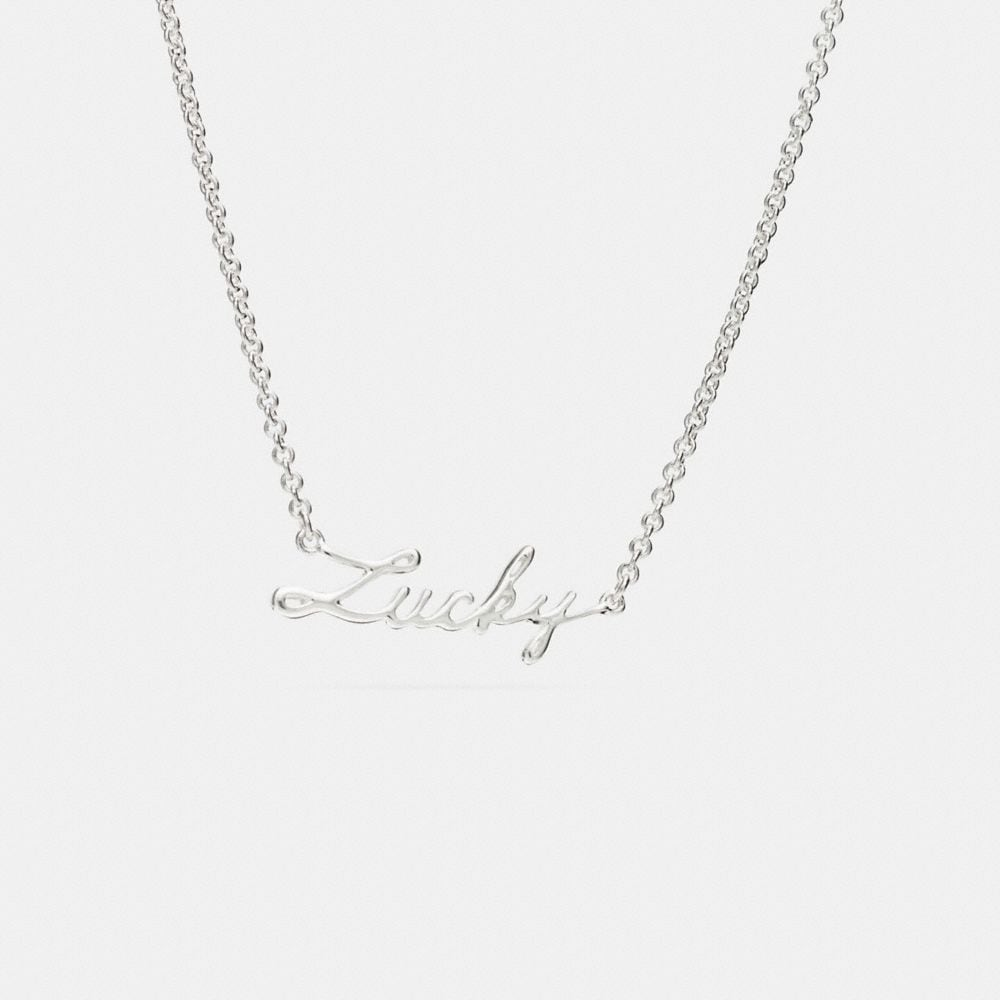 LUCKY STERLING SCRIPT NECKLACE