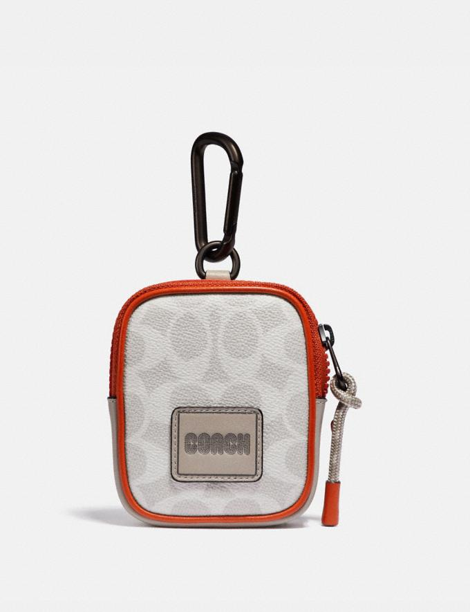 Coach Hybrid Pouch 8 in Signature Canvas With Coach Patch Chalk/Mango Gifts For Him Under $100