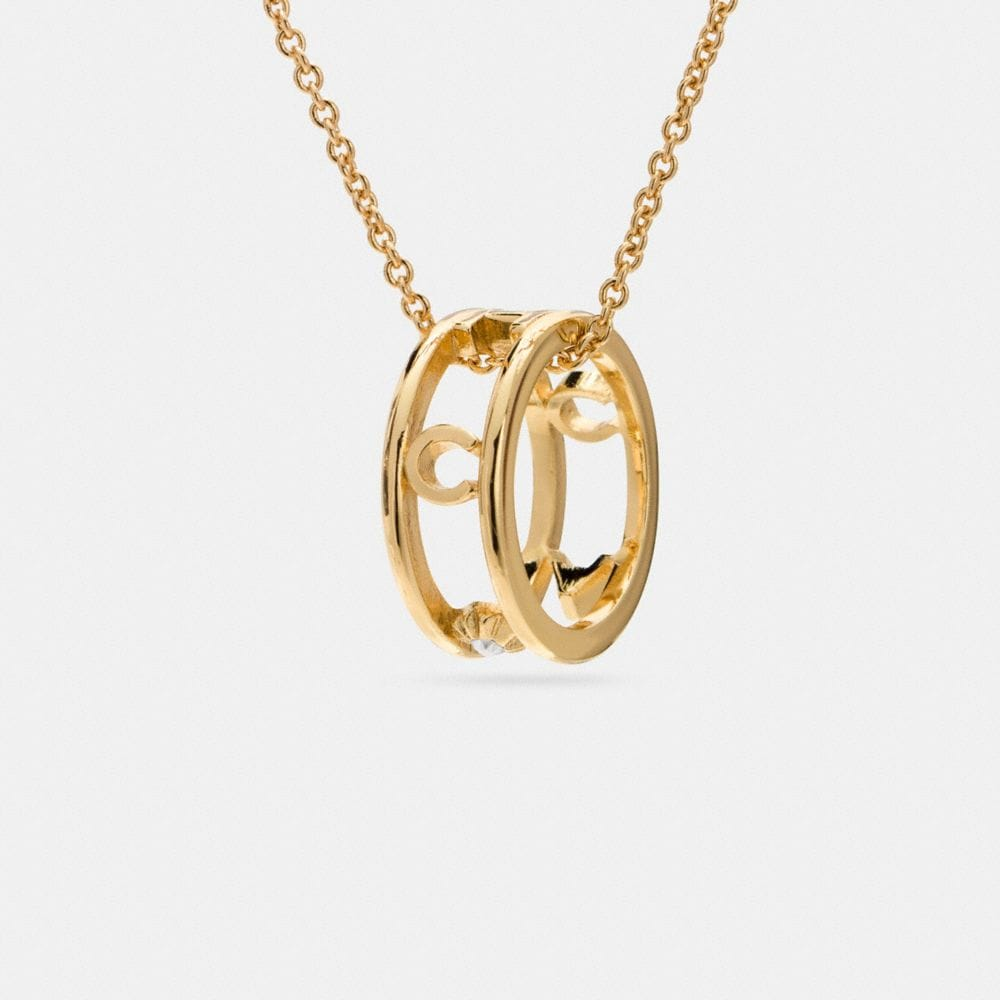 Coach Pave Coach Ring Necklace