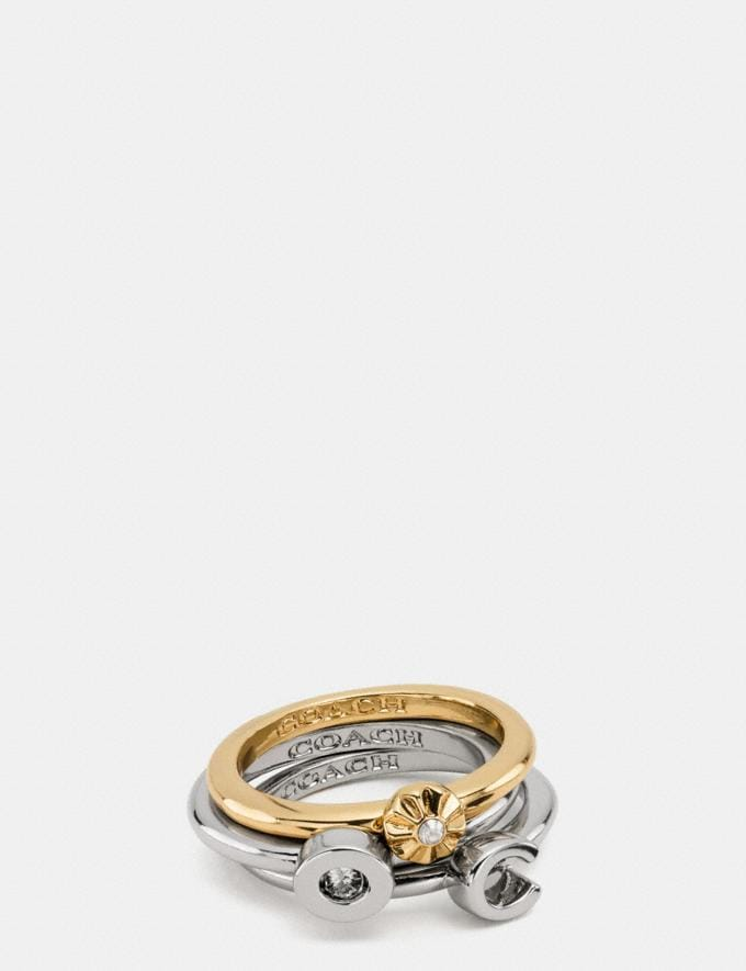 Coach Coach Rivet Ring Set Silver/Gold Women Accessories Jewelry Rings