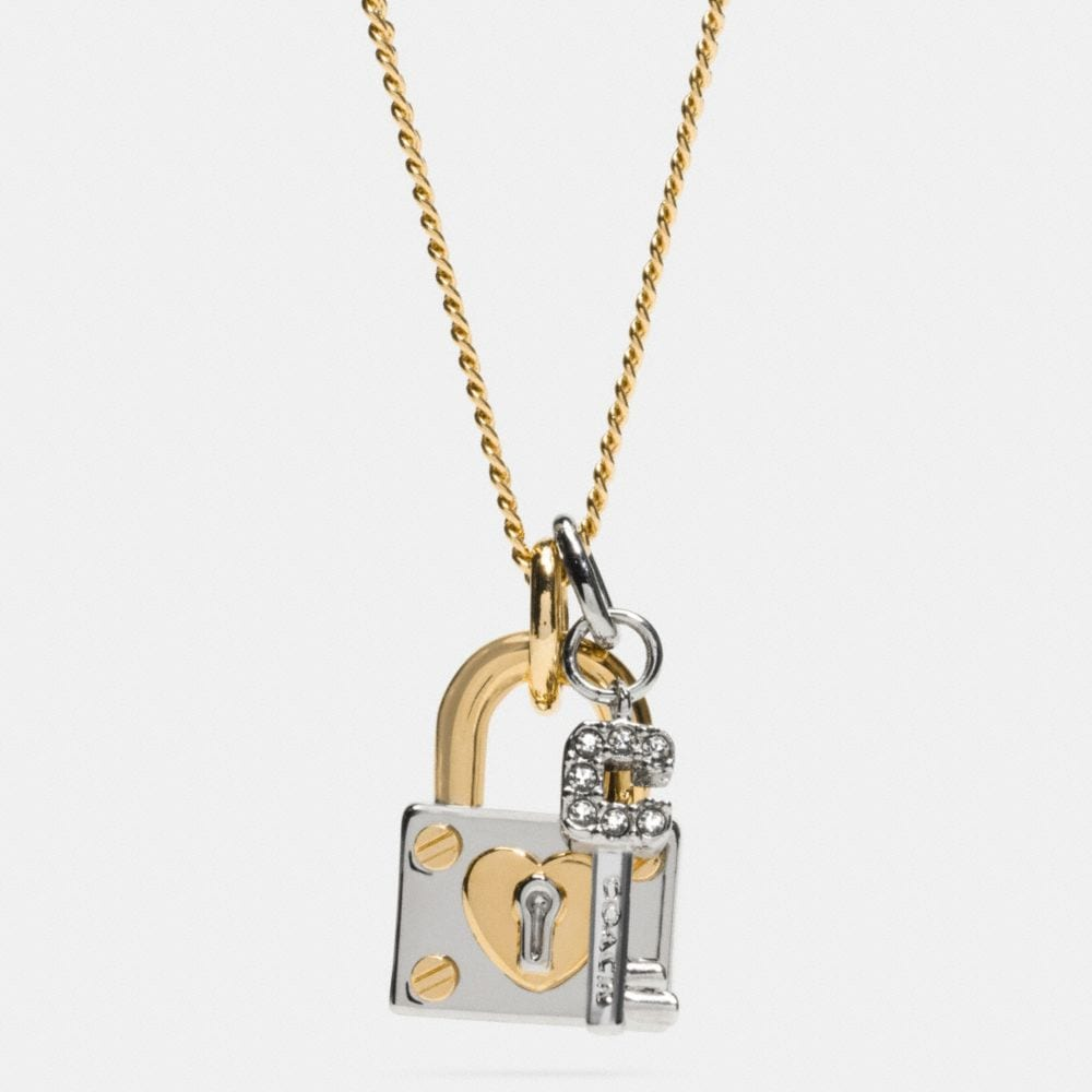 LONG PADLOCK HEART AND KEY NECKLACE