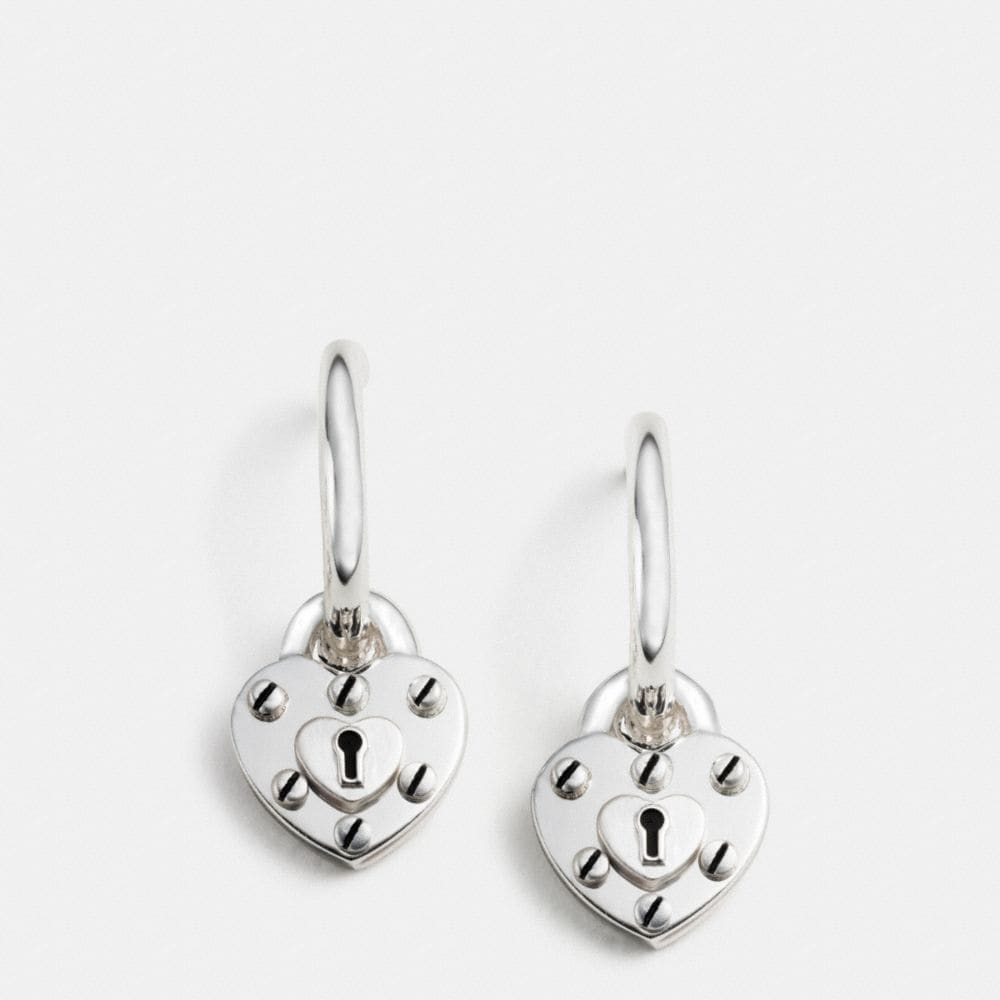 STERLING SILVER HEART LOCK HOOP EARRINGS