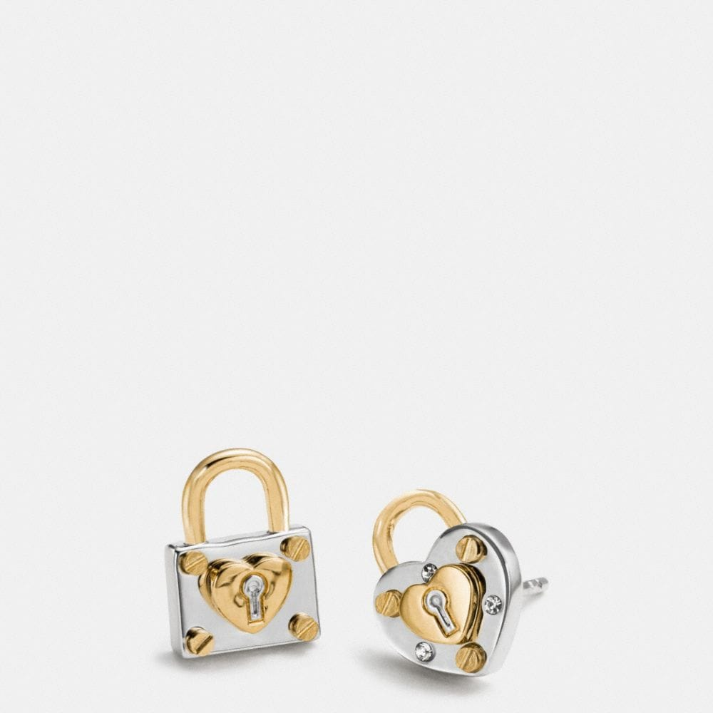 PADLOCK HEART STUD EARRINGS