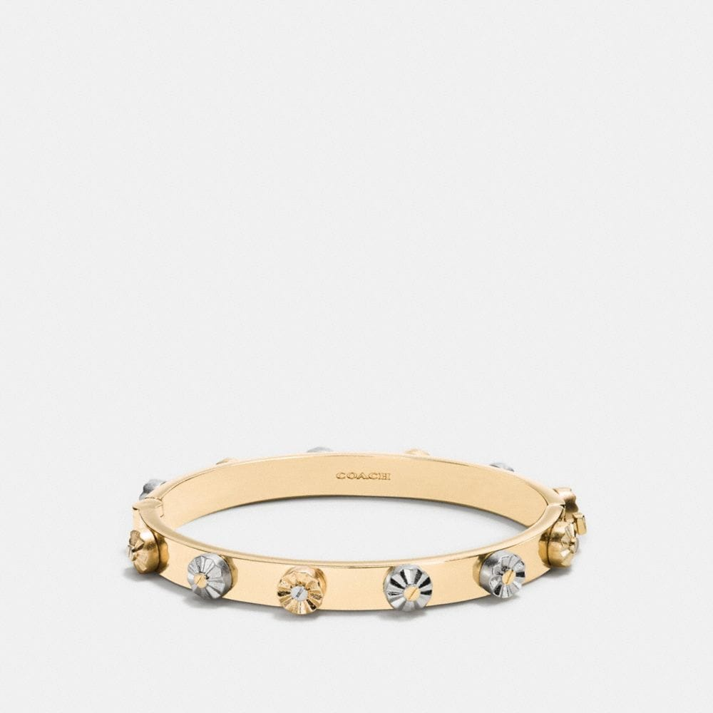 Daisy Rivet Hinged Bangle