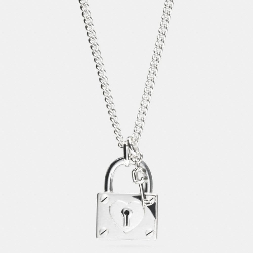 STERLING SILVER LONG PADLOCK HEART KEYS NECKLACE