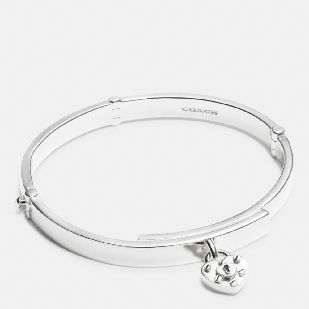 STERLING SILVER HEART LOCK HINGED BANGLE
