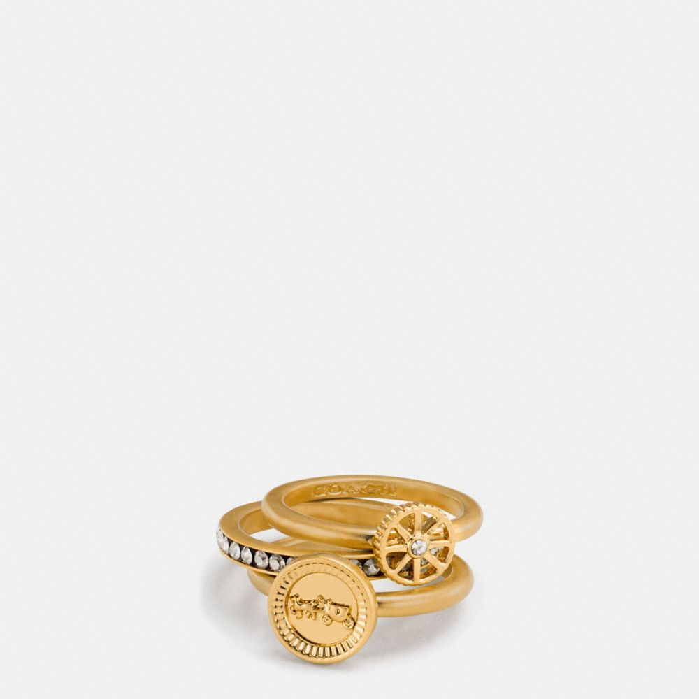 PAVE HORSE AND CARRIAGE COIN RING SET