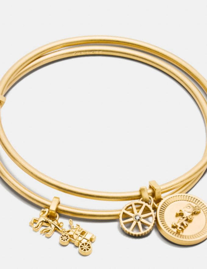 Coach Horse and Carriage Coin Bangle Set Gold SALE Online Exclusives