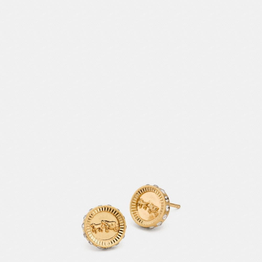 PAVE HORSE AND CARRIAGE COIN STUD EARRINGS
