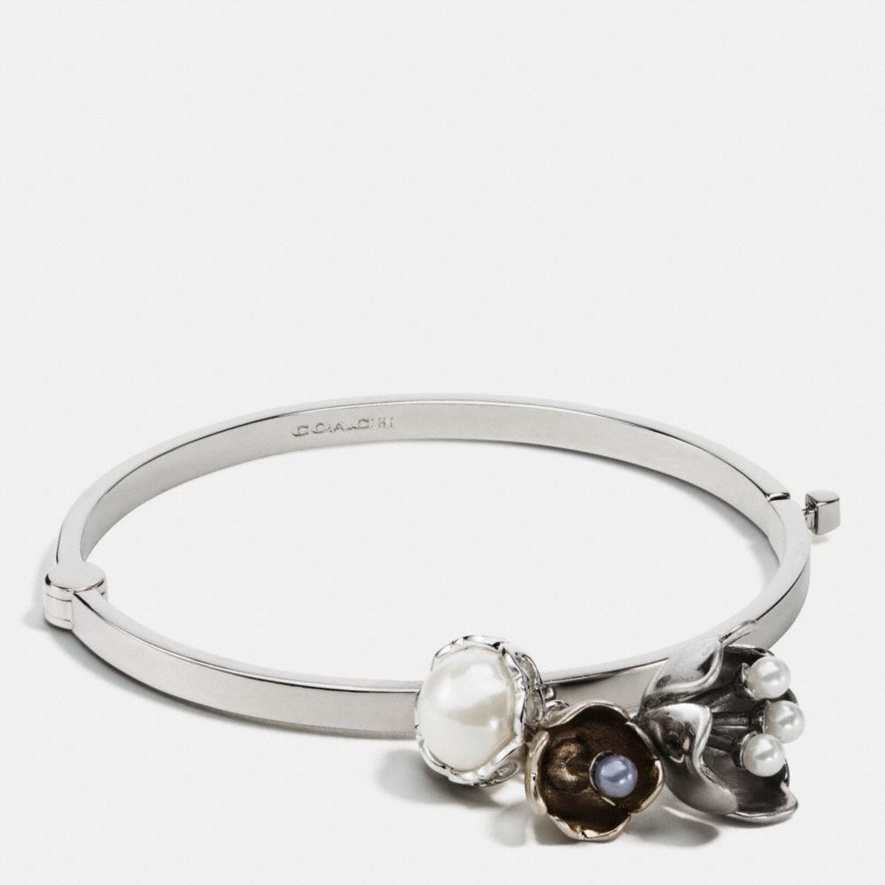 tea rose pearl charm bangle