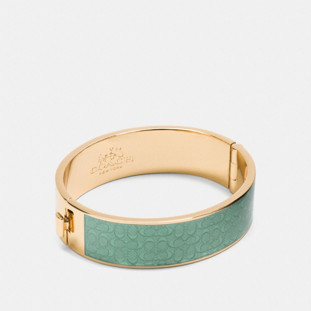 Enamel Signature Wide Hinged Bangle