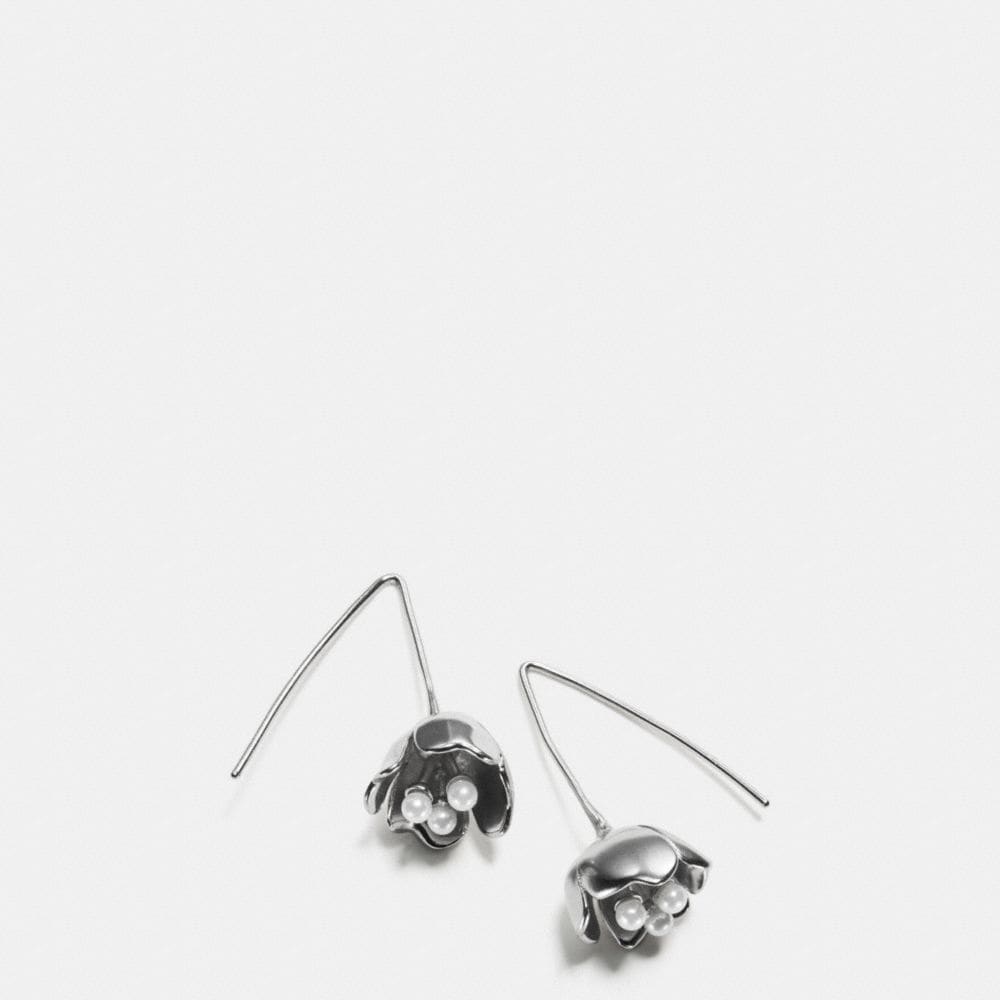 TEA ROSE PEARL THREADER EARRINGS